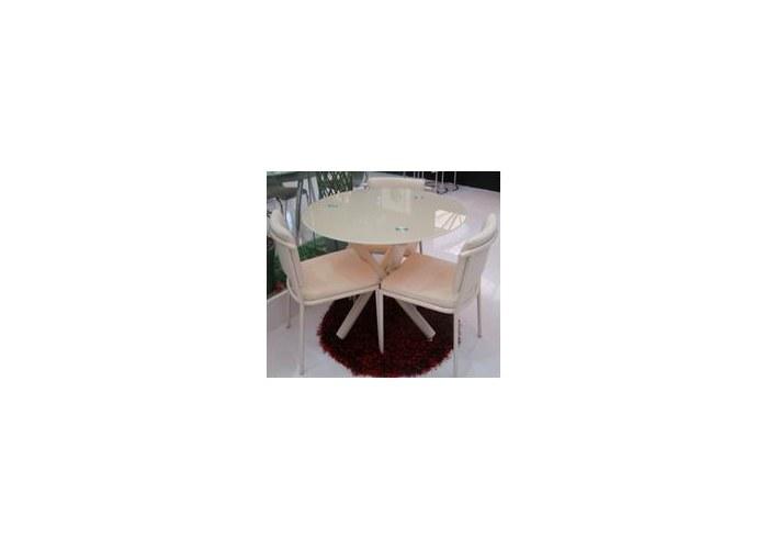 Круглый стеклянный стол для кухни B810, стол обеденный стеклянный круглый